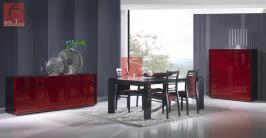 Salas de Jantar wenge com aparador em lacado vermelho alto brilho