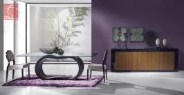 Sala de Jantar Moderna lacada em Preto com mesa de tampo em vidro