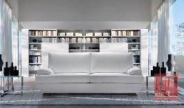 Sofá de 2 ou 3 lugares com 2 almofadas em tecido ou pele