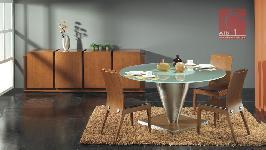 sala de jantar moderna com mesa redonda e pé em inox