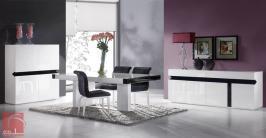 Sala de jantar Moderna lacada em alto brilho preto e branco