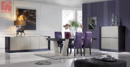 Sala de jantar moderna lacada em alto brilho preto e beje