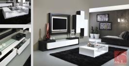 móvel de tv em madeira de carvalho Wengué e lacados