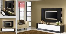 Sala de estar moderna em madeira de carvalho cor wengê e lacado branco Beje