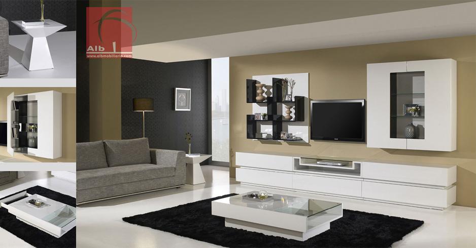 Mueble de saln mueble television estanteras 1005 for Muebles salon lacados blanco brillo
