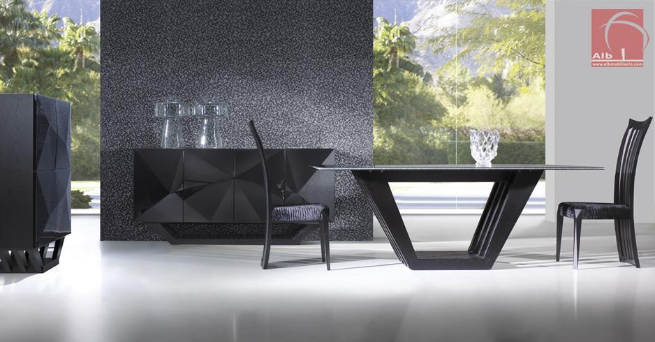 Sala Jantar Em Vidro ~ sala de jantar em carvalho lacado a preto Mesa de jantar com tampo de