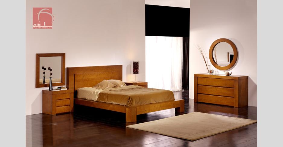 Dormitorio de matrimonio madera maciza de castao for Dormitorios de madera modernos