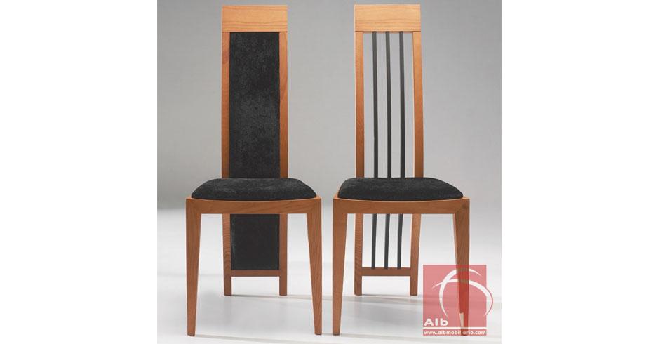 Silla comedor respaldo alto sillas madera fabricantes for Tapizar sillas de madera