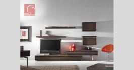 móvel de tv barato  em madeira de carvalho escurecido