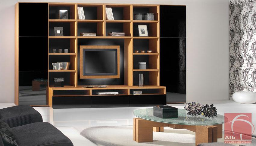 Estante de sala de estar em carvalho com portas lacadas a preto alto