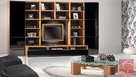 Estante de sala de estar em carvalho com portas lacadas a preto alto brilho