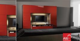 Estante para sala de estar com TV em Wenge e portas Lacadas