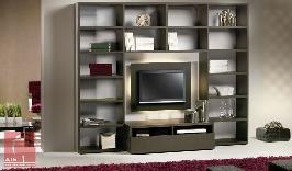 Estante de sala de estar em carvalho cor wenguê