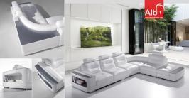 sofá de canto moderno fabricado em pele natural ou sintetica