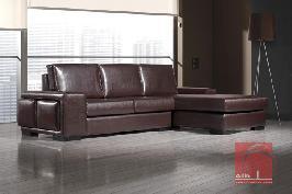 Sofa chaise longue com puff amovivel no braço lateral
