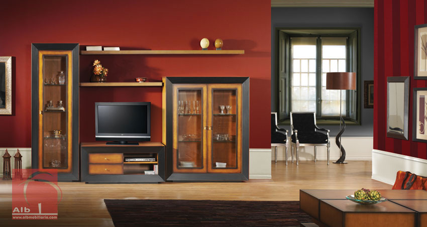 Sala De Estar Rustico Moderno ~ Móvel TV  Estante de Sala de estar estilo colonial Fabricada em