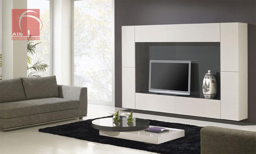 Mueble de saln alb mobilirio e decorao paos - Muebles salon lacados ...