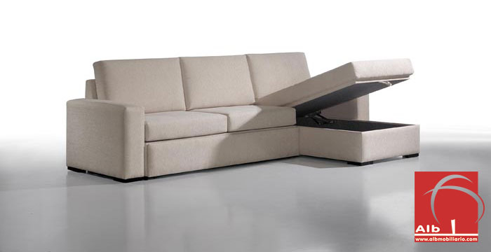 Sof cama chaise longue moderno barato 1006 3 alb for Sofas chaise longue cama