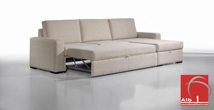 Sofa bed chaiselongue modern and cheap 1006 3 alb for Sofa cama chaise longue piel