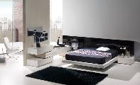 room bed bedside table comode armchair carpet