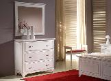 dresser comode mirror curtains bedside table stool lamp