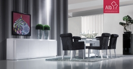 Modern dining room with white lacquered glass top table