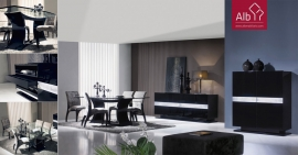 sala de jantar moderna em wenge e prata com mesa wengue e tampo de vido