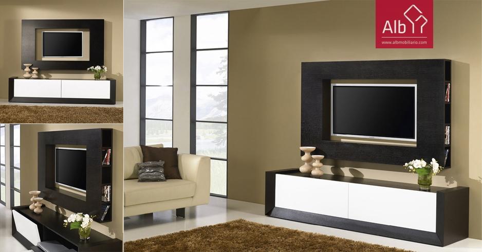 Muebles modernos de sal n hogar madrid alb for Mueble moderno para tv