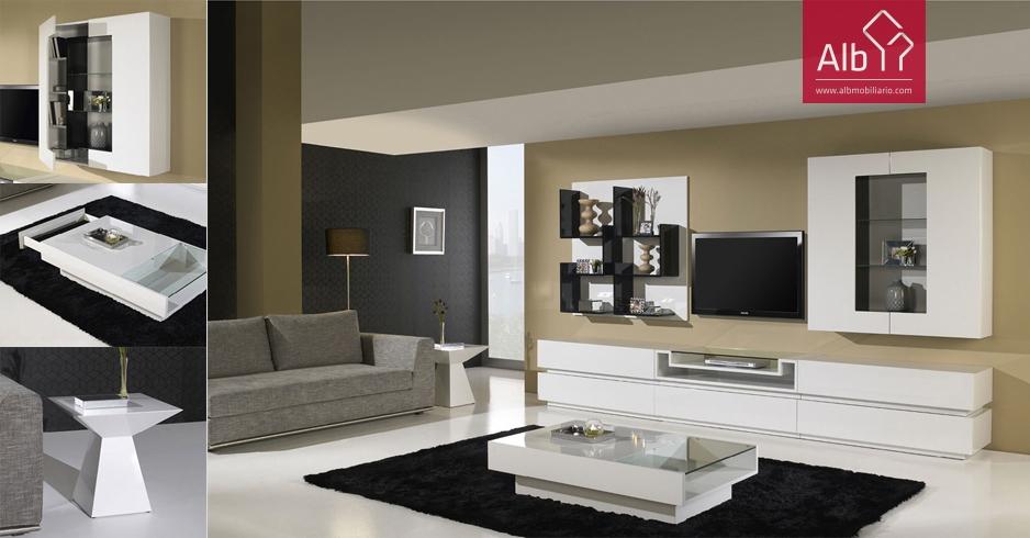 Mueble television estanteras alb mobilirio e decorao for Mueble salon lacado alto brillo