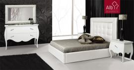 quarto casal lacado neoclássico cama estofada | loja moveis online