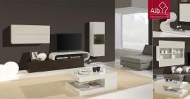 Móvel de Tv em carvalho com detalhes curvos lacado a branco