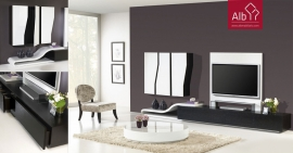 living room furniture, modern and lacquered. Coffee table with glass top