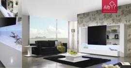 Estante moderna com porta de vidro deslizante e lacada a branco
