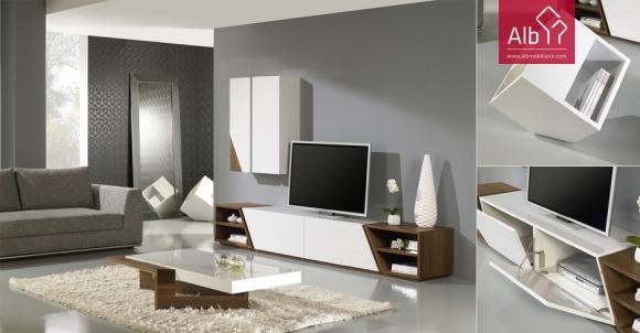 Sala de estar moderna em madeira de carvalho cor natural e lacado branco
