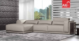 Sofá chaiselongue com encosto regulável em altura