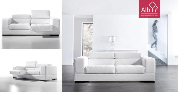 Sofa com acentos extensíveis e encosto da cabeça reclinável