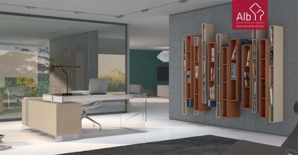 Escritório moderno em vidro, biblioteca modular suspensa na parede