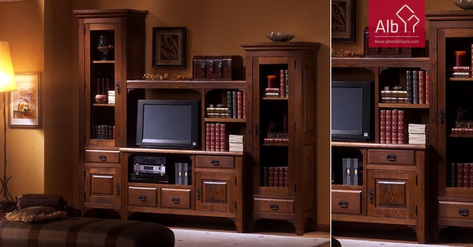 Muebles de estilo rstico toledo alb mobilirio e decorao for Sala de estar de madera