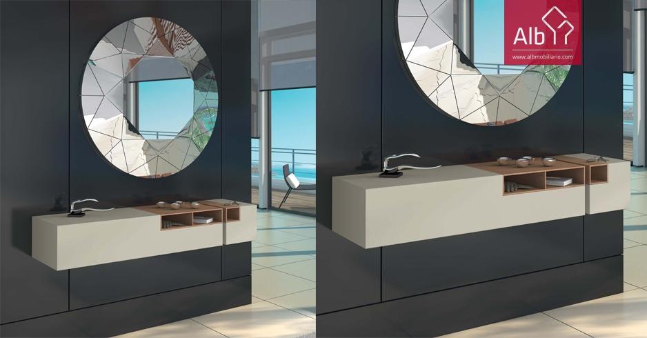 Moveis entrada modernos lacados consola entrada espelho - Muebles hall modernos ...