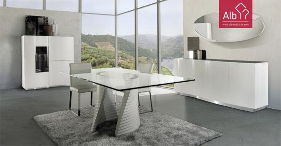 mobiliario de sala de jantar moderno linhas curvas lacado