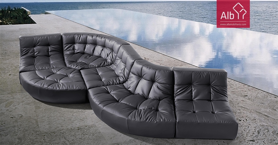 Curved Corner Sofa Made In Synthetic Or Natural Leather