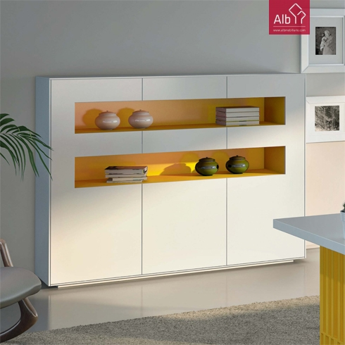 Muebles de oficina moderna lacada alb mobilirio e for Estantes de oficina