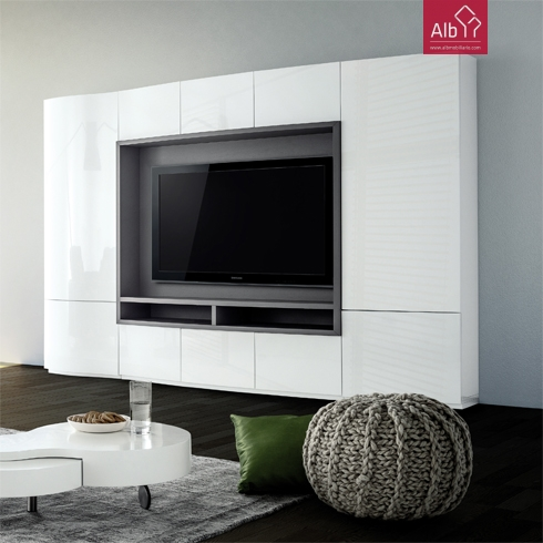 Estante tv sala de estar moderna lacada alb mobilirio e for Estantes modernos