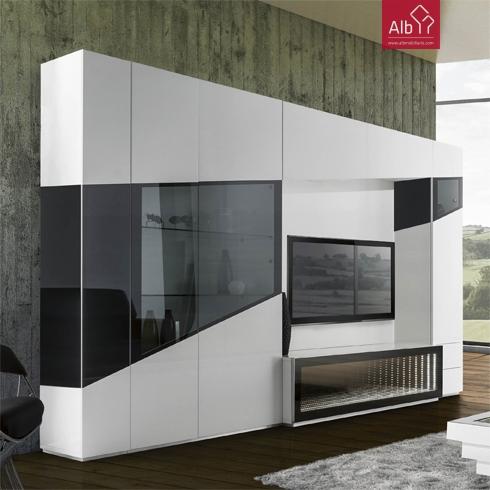 Estante tv lacada led movel tv led cascais alb for Estantes modernos